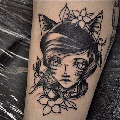 Cat lady tattoo by Damian Hope Ellams. #anime #feline #cat #catgirl #catlady #catwoman #damianhopeellams