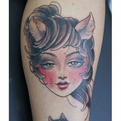 Cat lady tattoo by Iva Gustincic. #feline #cat #catgirl #catlady #catwoman #ivagustincic