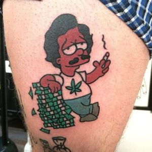 Anorher escobart tattoo #escobart #narcos #simpsons #money #PabloEscobar #BartSimpson #Dicky