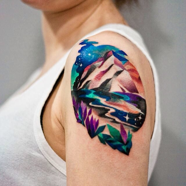 Vibrant watercolor mountain tattoo by Martyna Popiel. #mountain landscape #MartynaPopiel #watercolor