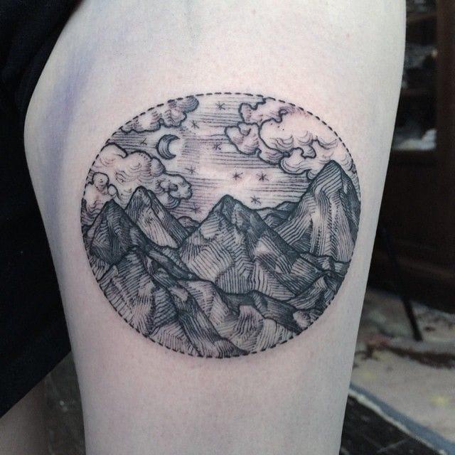 Peaceful mountain tattoo landscape by Rachel Hauer. #mountain landscape #RachelHauer #blackwork #linework #dotwork