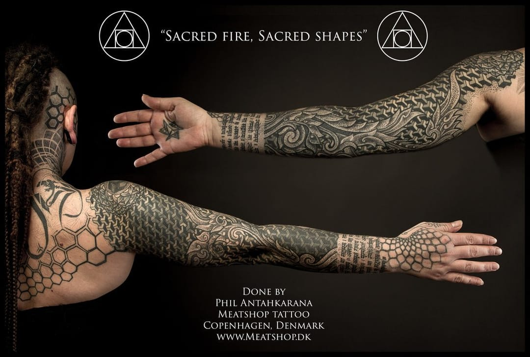 Elements, energy and sacred geometry: epic sleeve by Phil Antahkarana.