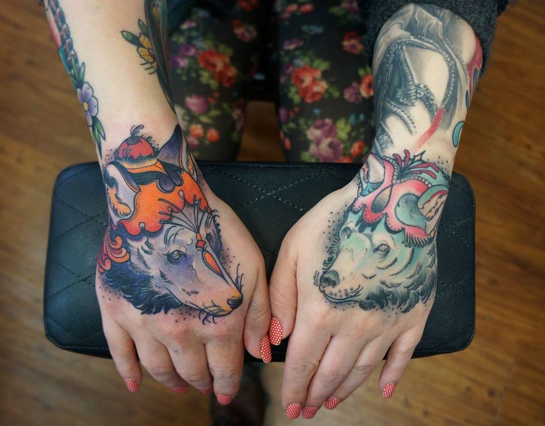 Matching wolf tattoo by Matt Lambdin #wolf #wolftattoo