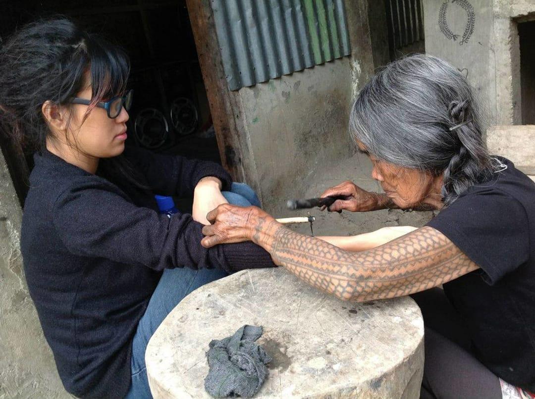 Tattoo from Apo Whang Od #dotwork #handpoke