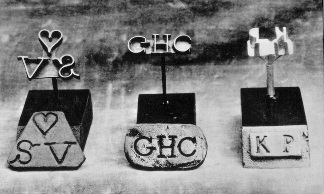 """""""Metal Branding Irons with Owners' Initials"""", from the Atlantic Slave Trade and Slave Life in the Americas collection. Image ref. H019"""