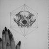 #dotwork #animal #skull #design with #geometric #hexagon