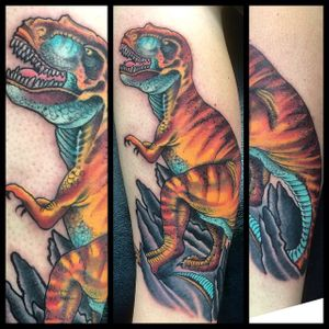 #dinosaur #trex #traditional #tattoo #darrenbrass