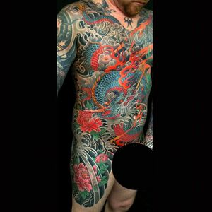 #japanese #bodysuit #torso #dragon #japanesedragon #peony #japanesebodysuit #chrisgarver