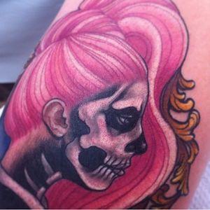 Detail of a super fun tattoo I made of Lady Gaga. #ladygaga #bornthisway #tattoo #portrait #meganmassacre