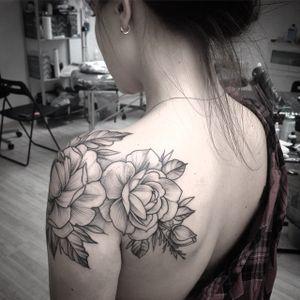 #feminine #blackandgrey #peony #shoulder #tattoo