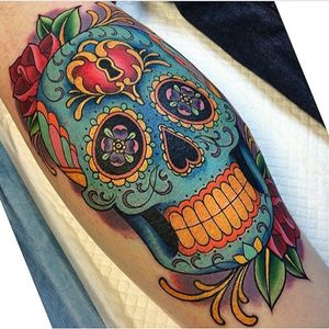Sugar skull I tattooed earlier this year at Grit N' Glory. #sugarskull #dayofthedead #skull #tattoo #meganmassacre #gritnglory