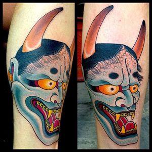 One shot Hanna made at the London Tattoo Convention #hannya #tattoo #japanese #mikerubendall #kingsavenue #kingsave