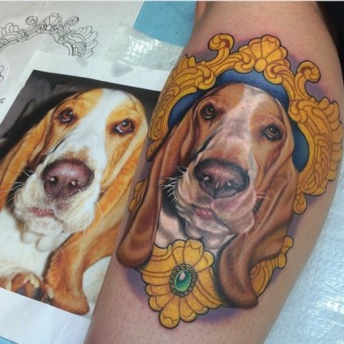 The first tattoo I ever did at Grit N' Glory! I love tattooing pets. #puppy #hounddog #portrait #filigree #tattoo #meganmassacre #gritnglory
