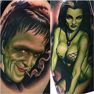 Here are some spooky Munsters tattoos I made over the past year!  #hermanmunster #lilymunster #portrait #themunsters #tattoo #meganmassacre #gritnglory