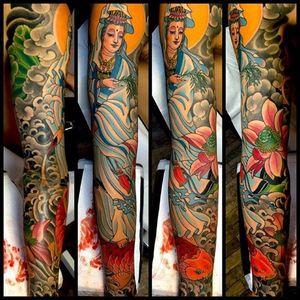 Kannon, Lotus, & Koi Sleeve made at Kings Avenue Tattoo #kannon #lotus #koi #water #sleeve #mikerubendall #kingsavenue #kingsave