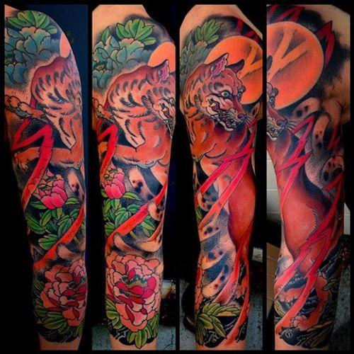 Kitsune sleeve made at Kings Avenue #kitsune #fox #peony #sleeve #mikerubendall #kingsavenue #kingsave