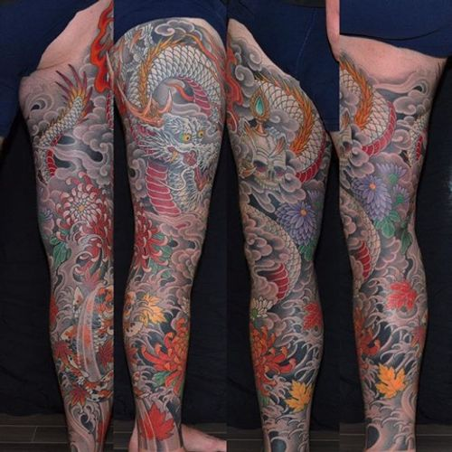 This tattoo started with a koi fish on the calf and just grew from there... #japanese #dragon #koi #kiku #mapleleaf #legsleeve #tattoo #chrisgarver #invisiblenyc
