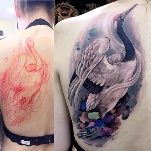 Throughout Asia, the #crane is a symbol of hapiness and eternal youth. In #japan and #china, the crane is a mystical and holy creature, such as #dragon and #tortoise. #tattoo done by hailin_fu_tattoo