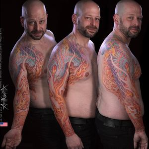 #phoenix #rising #fire #watercolor #watercolorstyle #tattoo #tattooer #anilgupta #mastertattoo #nyc #lowereastside #taot #ink_ig #custom #color #walkinswelcome #inklinestudionyc