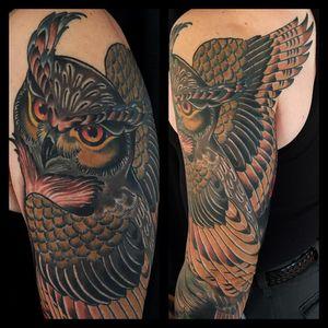 Finished #Owl by @rosehardy for one of our favorites Bill. Thanks!! #kingsavetattoo #bowery #birdzonbowery #teacherswithtatz
