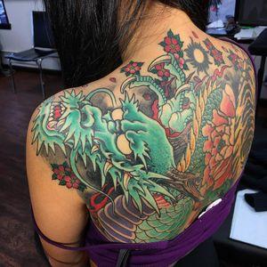 #inprogress #dragontattoo #cherryblossom #blossomtattoo #japanesetattoo #asiantattoo #asianart #wip #bensonhurst #brooklyn #nyc #inkman_tattoo #danhvu
