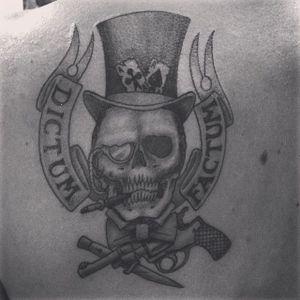 #siberian #blackandgrey #skull #gun #knife #banner #tophat