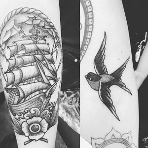 By our multitalented artist Ali Agarth #traditionaltattoo #traditionaltattoos #sparrow #swallow #blackandgreytattoo #shiptattoo #pirateshiptattoo #pirateship