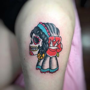 Done by elpincheloco  #tattoo #sugarskull #boldwillhold #tatuaje #pricktattoo #eastlondon #shoreditch #traditionaltattoo #traditional