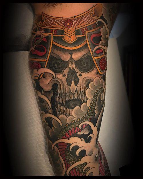 A #samurai #skull for the inside of this koi/dragon sleeve
