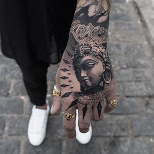 Hand tattoo by Oscar Akermo #OscarAkermo  #buddhisttattoo #buddhatattoo #buddhism #buddha