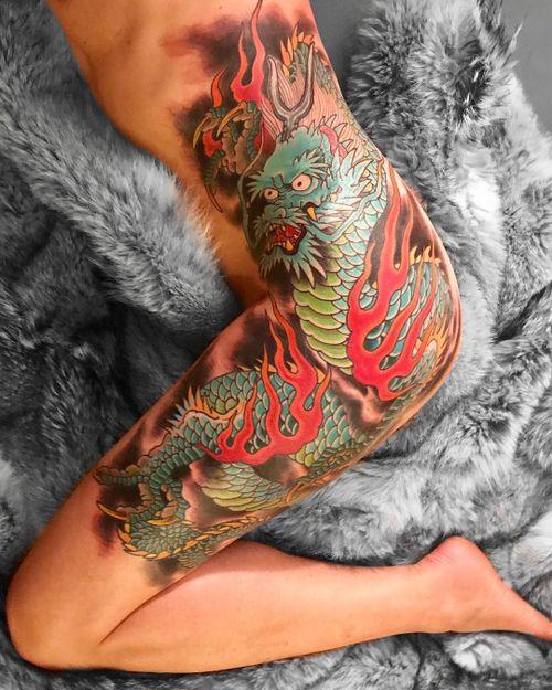 Almost done on this Dragon.  @RoyalTattoo #royaltattooDK #royalink #japanesetattoo #dragon