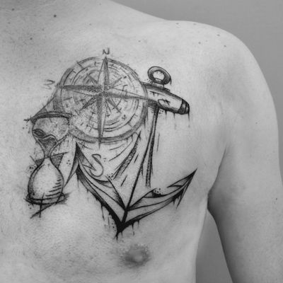 Anchor sketch tattoo #tattoo #tatuaggio #roma #liner #blackandwhite #sketch #anchor #ancoratattoo