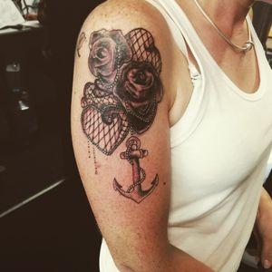 #rosetattoo #blackandgreytattoo #lacetattoo #lace #chandeliertattoo #peppershadetattoo #anchortattoo #shaded #sleeveprogress #tattoolife #tattoos#tattooartist #bristol#bristolartist #carlanorley #smokinink #staplehill #studio #bristol#bristolartist