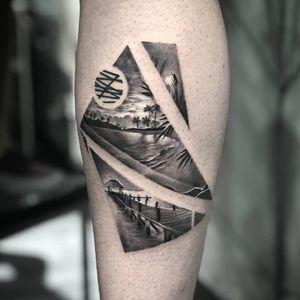 Oh, the places we wanna go. Tattoo by Dani Ginzburg #DaniGinzburg #tropicaltattoos #blackandgrey #realism #realistic #hyperrealism #abstract #shapes #island #beach #bridge #palmtree #landscape #seascape #sky #clouds #sun #vacation
