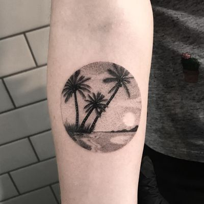 Holiday in the sun. Tattoo by Ash Timlin #ashtimlin #tropicaltattoos #color #traditional #island #palmtree #coconuts #leaves #nature #sun #sand #beach #landscape #ocean #waves #dotwork #illustrative