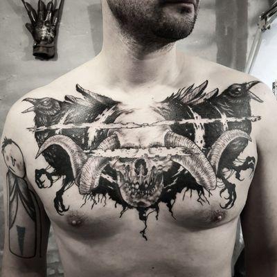 Almost done chest, 2 sessions. #touchline #skull #raven #blackwork #sketch