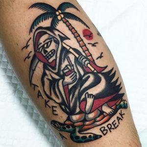 Make sure to self care. Tattoo by July Arthaya #julyarthaya #tropicaltattoos #color #traditional #skeleton #death #skull #goldtooth #pinacolada #birds #vacation #hawaiianshirt #portrait
