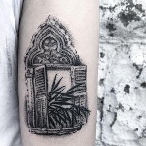 Lush window tattoo by 54.43_20.30 #Вэйстэд Лайф #54.43_20.30 #favoritetattoos #Besttattoos #dotwork #linework #illustrative #window #leaves #plant #nature #pattern