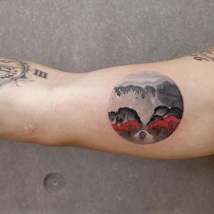 The landscape within. Tattoo by chenjie.newtattoo #chenjienewtattoo #ChenJie #favoritetattoos #besttattoos #color #blackandgrey #landscape #trees #forest #land #nature #sky #watercolor #Chinese #painterly #painting