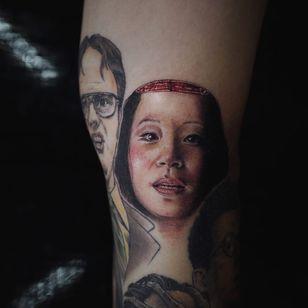O-ren Ishi's last breath. Tattoo by Sol #Sol #solcomplex #favoritetattoos #besttattoos #color #realism #realistic #hyperrealism #orenishi #portrait #lucyliu #QuentinTarantino #killbill #movietattoo #filmtattoo