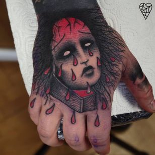 Death cries tears of blood. Tattoo by Lukasz Sokolowski #LukaszSokolowski #favoritetattoos #besttattoos #linework #blackandgrey #redink #blood #teardrops #face #portrait #ladyhead #handtattoo #death #demon