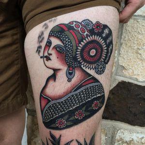 Smoking lady tattoo by Ivan Antonyshev #ivanantonyshev #favoritetattoos #besttattoos #color #traditional #folktraditional #healed #lady #portrait #ladyhead #flowers #floral #pattern #snoking #cigarette