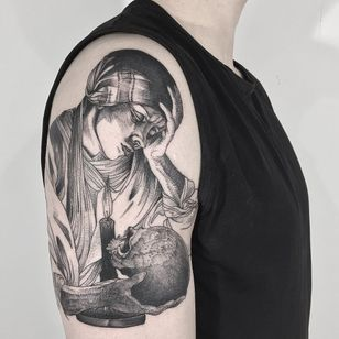 Momento Mori tattoo by Vanpira #Vanpira #vanpriegonova #blackandgrey #illustrative #linework #etching #woodblock #engraving #woman #lady #portrait #skull #death #candle #light #momentomori
