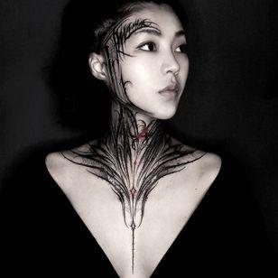 Dark ornamental tattoo by 12_bbk #yztattoo #12bbk #bbktattoo #favoritetattoos #besttattoos #lettering #darkart #necktattoo ##spiderweb #fineline #linework #calligraphy #redink #ink #brushstroke #splatter