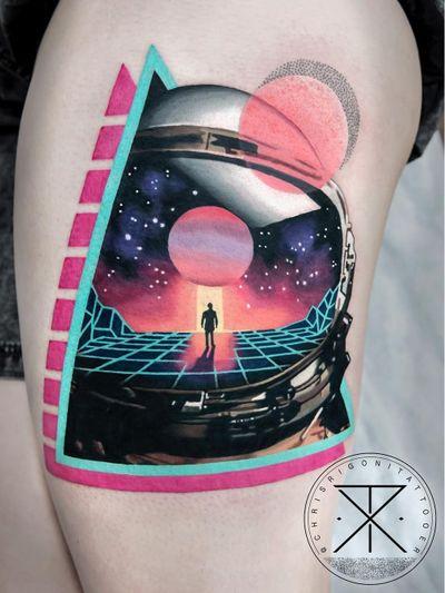 Tattoo by Chris Rigoni #ChrisRigoni #realism #realistic #hyperrealism #blackandgrey #color #abstract #shapes #mashup #astronaut #scifi #galaxy #solarsystem #space