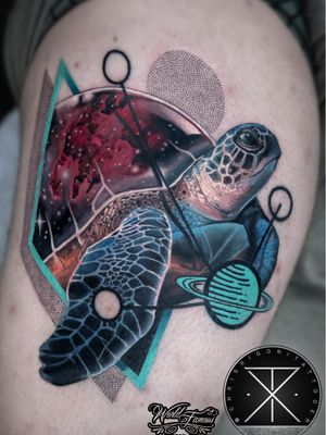 Tattoo by Chris Rigoni #ChrisRigoni #realism #realistic #hyperrealism #blackandgrey #color #abstract #shapes #mashup #turtle #galaxy #solarsystem #stars #oceanlife #nature #animal
