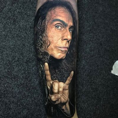 Dio and the horns. Tattoo by Steve Butcher #stevebutcher #metaltattoos #realism #realistic #hyperrealism #Dio #portrait #rockon #horns #metal #musician #famous