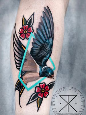 Tattoo by Chris Rigoni #ChrisRigoni #realism #realistic #hyperrealism #blackandgrey #color #abstract #shapes #mashup #bird #feathers #wings #flowers #floral #leaves #nature #traditional
