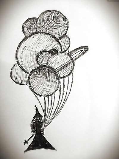 #mywork #artshare #solarsystem #witch #magical #balloon #planets #roughsketch #sketch