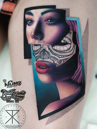 Tattoo by Chris Rigoni #ChrisRigoni #realism #realistic #hyperrealism #blackandgrey #color #abstract #shapes #mashup #lady #ladyhead #portrait #scifi #robot #ghostintheshell #alien
